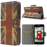Flip Case Business Case Etui Cover LG L90 / D405 UNION JACK England Flagge UK-Fahne Book Check