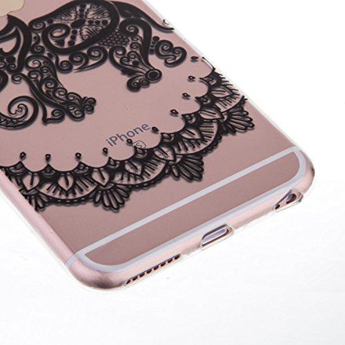iPhone 6S Plus Hülle, iPhone 6 Plus Hülle, SainCat Silikon Hülle Tasche Handyhülle [Kratzfeste, Scratch-Resistant] TPU Bumper Case Weiches Gel Cover Schutzhülle Crystal Kirstall Clear Case Durchsichti Blumen-Elefant