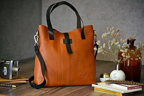 LEABAGS Perth borsa da donna vintage in vera pelle di bufalo - Cognac Cognac