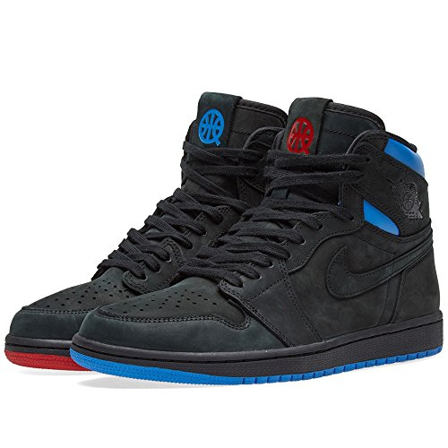 Nike Air Jordan 1 Rétro Haute Og Q54 Mens Formateurs Ah1040 Scarpe Ginnastica Noir / Italie Bleu - Université Rouge