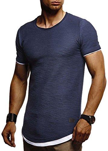 Leif Nelson Herren Sommer T-Shirt Rundhals-Ausschnitt Slim Fit Baumwolle-Anteil Moderner Männer T-Shirt Crew Neck Hoodie-Sweatshirt Kurzarm lang LN8223 Dunkel Blau XX-Large