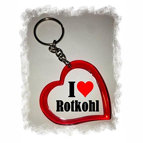 Druckerlebnis24 Herzschlüsselanhänger I Love Rotkohl, eine tolle Geschenkidee die von Herzen kommt  Geschenktipp: Weihnachten Jahrestag Geburtstag Lieblingsmensch