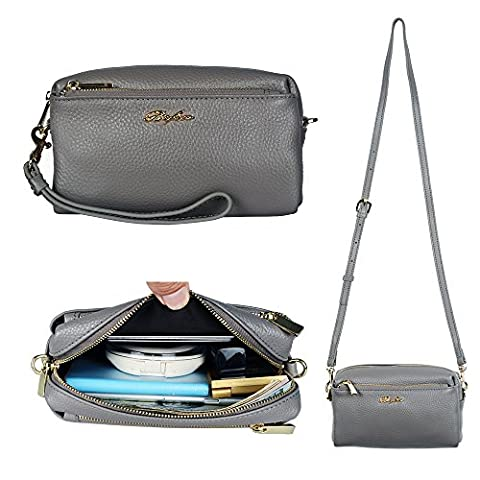 Befen Women Full Grain Leather Trip Zip Crossbody Bag Crossbody Cell Phone Wallet Purse Cluth Bag Phone Wristlet for iPhone 7/6s/6 Plus, Samsung Note 5/4-Dark