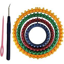 Telar Circular Plástico Fuerte (6 Piezas) - 4 Tamaños Incluyen 14cm, 19cm, 24cm, 29cm, 1 aguja y 1 ganchillo gancho - Perfecto para Tejedores Principiantes y Profesionales con Instrucciones