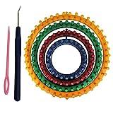 Tricotin Circulaire Métier (Lot de 6) - 4 Plastique Métiers à Tricoter Ronds (14cm, 19cm, 24cm, 29cm) avec 1 Aiguille à tricoter et 1 Crochet Parfait pour Tricoteurs Débutants et Professionnels, Fourni avec Instructions