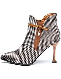 YAN Zapatos de Moda para Mujer Zapatos de tacón de Aguja de 9 cm Puntiagudos a Cuadros Botines de Moda Otoño Botas cómodas Botas…
