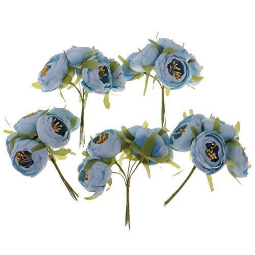 MagiDeal 30pcs Künstliche Kamelien Knospe Blütenköpfe Blumen Köpfe Hochzeit Parteidekor DIY Basteln - Blau, 5 x 3cm - Kopf-tisch-mittelstücke