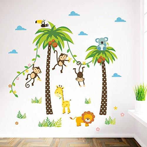 dschungel wandtattoo FACAI Abnehmbare Wandtattoo Dschungel Wald Affen Löwe Giraffe, Eule auf bunten Baum Wandsticker für Kinderzimmer Kindergarten Schlafzimmer (grün)