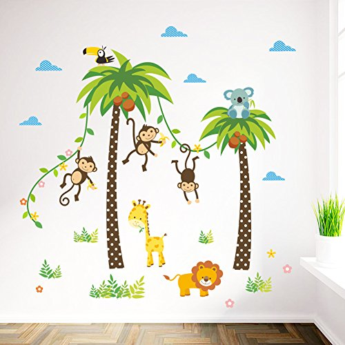 ElecMotive Dschungel Abnehmbare Wandsticker Kinderzimmer Babyzimmer Deco für Geburtstag Party in Geschenk Verpackung