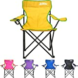 just be…® Folding Camping Chair – Yellow with Green Trim