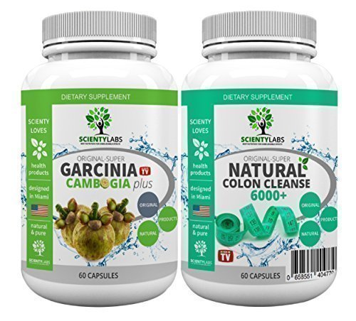 Colon Cleanser (SUPERPACK! - Super Garcinia Cambogia + Detox colon cleanse 6000+. US Original von ScientyLabs mit purem! Garcinia Cambogia + aktuell stärkster SL colon cleanser)