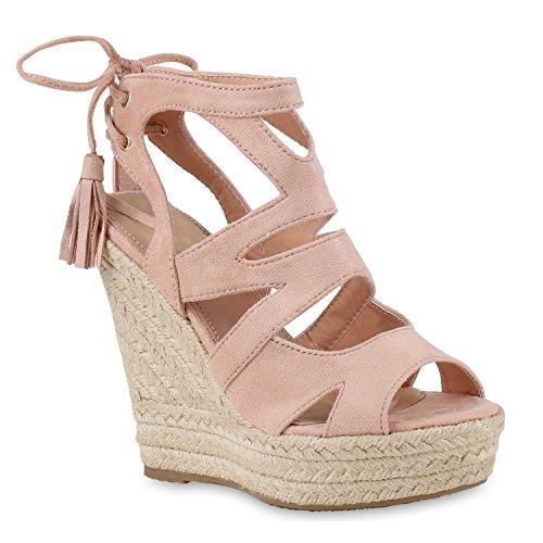 Damen Sandaletten Sandalen Keilabsatz Leder-Optik Plateau Sommer Wedges Fransen Schleifen Party Hochzeit Braut Schuhe 131136 Rosa 39 Flandell -