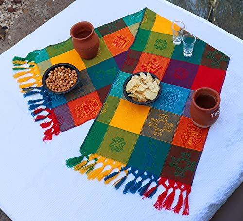 äufer - Bohemian Tischläufer - Boho Rainbow Aztec Läufer - Serape bunt gestreift Baumwolle Läufer für mexikanische Fiesta Dekorationen und für Hochzeit Dekor Grün Blau Orange ()