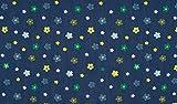 Fabrics-City BLAU/GRÜN/GELB JEANS BEDRUCKT BLUMEN