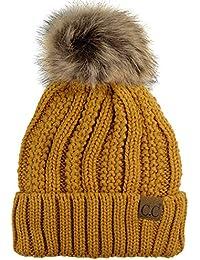 a889eb7e7cf C C Bonnet à Revers tricoté épais doublé en melloton à Pompon crépu en  Fausse Fourrure