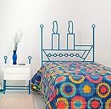 Dfierro Barco Cabecero de forja, 90 cm, Color Azul, Metal, Cama 80/95 (Twin), 95.0x5.0x128.0 cm