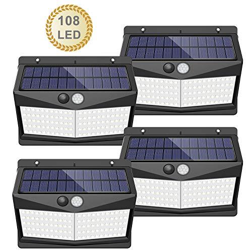 【108 LED / 3 Modos】Luz solar exterior, SEZAC Luces de seguridad solar Luces de sensor de movimiento...