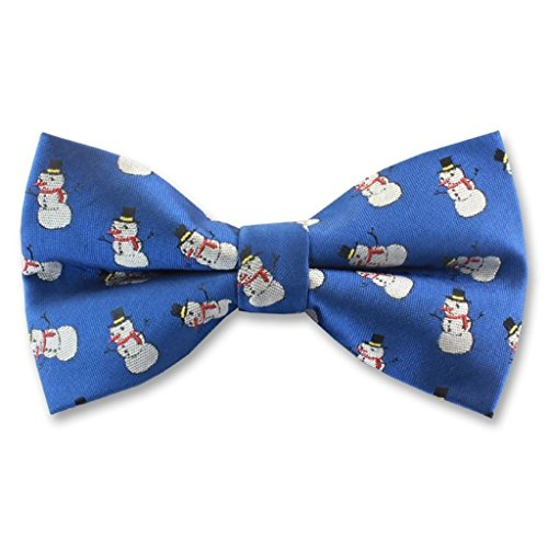 Blue Pre Tied Woven Polyester Bow Tie With Christmas Festive Snowman Snowmen By St George - Boxed