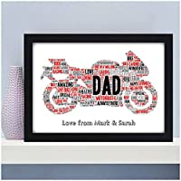 PERSONALISED Motorbike Biker Bike Print Christmas Fathers Day Birthday Gifts for Dad Daddy Grandad - ANY MESSAGE - Birthday Christmas Fathers Day Gifts - A5 A4 Framed Prints or 18mm Wooden Blocks