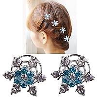 Miya® Set di 4 bellissimi fiocchi di neve per capelli con strass brillanti in cristallo blu, spille spirali per capelli, per sposa, matrimonio, diciottesimo, Form2