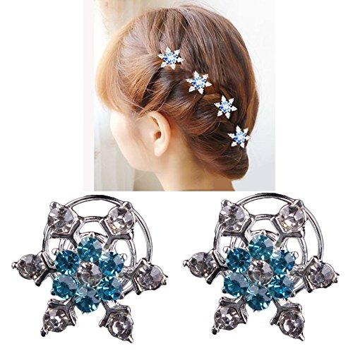 YAMI Miya® Lot de 4 épingles à cheveux ornées de flocons de neige Avec cristaux en strass brillants Bleu/multicolore Bijou de mariage noces cérémonie d'initiation civique