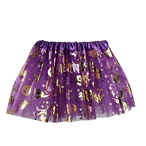 Rocita Tutu Rock für Kinder/Mädchen, Schwarz, glitzernd, Tutu, Rock mit gelben Spinnennetzen, für Halloween, Kostüm, Violett, 1 Stück