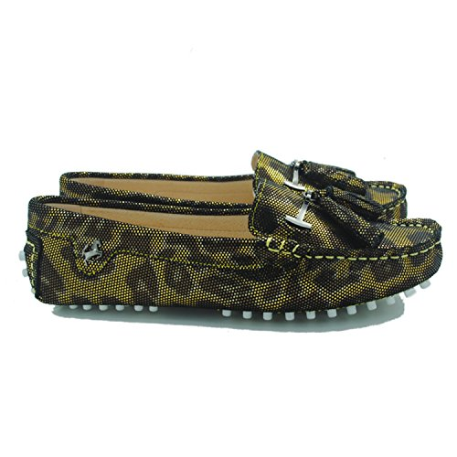 Minitoo JD568–3 Mocassini da donna con nappa in camoscio Snake-Gold