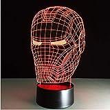 Iron Man Led Lampe de Table 3D Illusion Optique Veilleuse Transparent Acrylique Deco Veilleuse Enfant Maison Bulber Lampe De Nuit