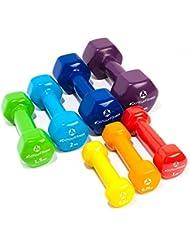[7 parejas] Set Ahorro de pesas vinilo »Hexagon« / Mancuernas disponibles en diferentes pesos y colores / ( 0,5kg, 0,75kg, 1kg, 1,5kg, 2kg, 3kg & 4kg )