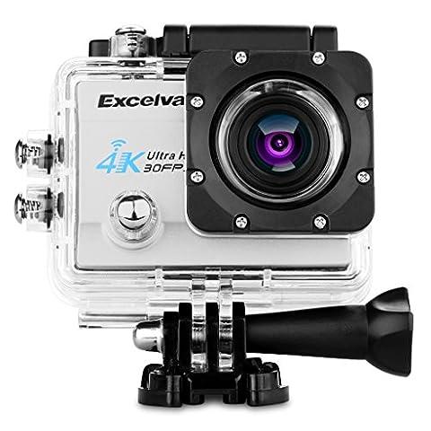 """Excelvan Sport Caméra WIFI 2"""" 4K 30fps 16MP H.264 170°Grand Angle Caméra D'action DV avec Micro USB et Port HDMI - Argent"""