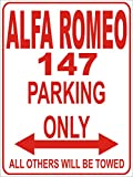 INDIGOS - Parkplatz - Parking Only- Weiß-Rot - 32x24 cm - Alu Dibond - Parking Only - Parkplatzschild - Alfa Romeo 147