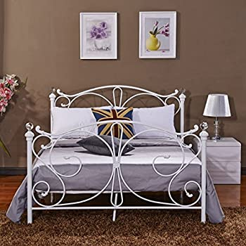 New Single 3ft Or 4ft6 Double Black White Metal Bed Frame