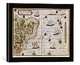 Gerahmtes Bild von Pedro Reinel Brasilien, Land- und Seekarte/Homem, Kunstdruck im hochwertigen handgefertigten Bilder-Rahmen, 40x30 cm, Schwarz matt
