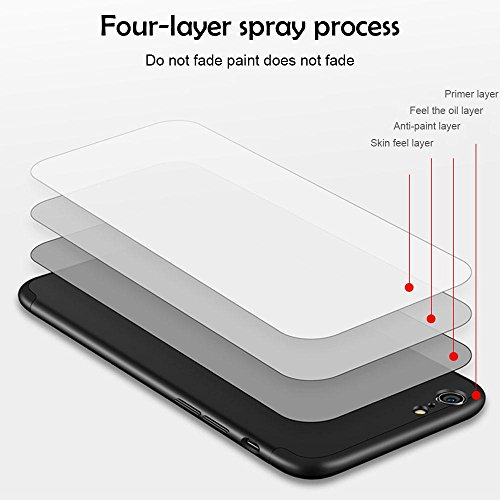 KOBWA iPhone 6s Plus/6 Plus / 7 / 7 Plus / 6 / 6S Hülle, 3 in 1 Ultra Dünner PC Harte Case 360 Grad Ganzkörper Schützend, Anti-Fingerabdruck, Anti-Scratch für Apple IPhone 6 / 7 Each Series 7 Schwarz