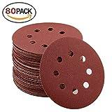 80 pezzi dischi abrasivi Ø 125 mm assortimento: grana da 10 X 40/80/120/240/320/400/600/800 per smerigliatrice orbitale di 8 dischi carta vetrata