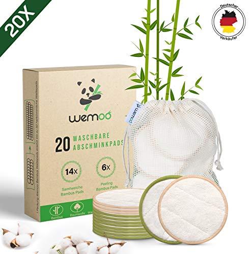 Waschbare Abschminkpads I 20 wiederverwendbare Abschminktücher aus Bambus & Baumwolle mit Wäschebeutel | Wattepads waschbar und wiederverwendbar | Nachhaltige Plastikfreie Bio Produkte | Zero Waste -