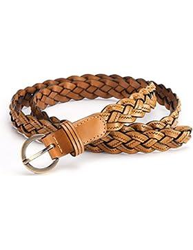 Cinturón Delgado Tejido/Versión Coreana De La Moda Cinturón Decorativo/Cinturón De Cuero De La Hebilla Del Perno...