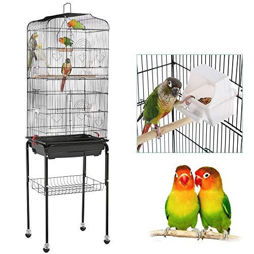 Yaheetech Cage à Oiseaux sur Pied Volière pour Perroquet Perruches Canaris Calopsitte élégante 4 mangeoires / 3 perchoirs / 150,6cm de Haut