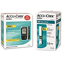 Accu Chek Active Blood Glucose Meter Kit (Multicolor) with Vial of 10 Strips Free