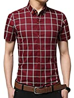 Fulok Mens Business Comfy Plaid Short Sleeve Button Down Shirts L wine red
