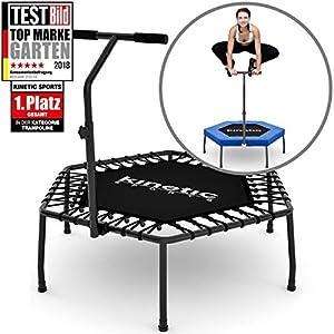 Kinetic Sports 1.Platz auf Testbild Fitness Trampolin Indoor Ø 110 cm, höhenverstellbarer Haltegriff + Gummiseilfederung + Randabdeckung, Smart Jumping Workout, belastbar bis 120 kg