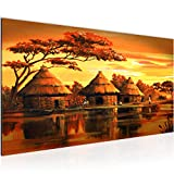 Bilder Afrika Massai Wandbild Vlies - Leinwand Bild XXL Format Wandbilder Wohnzimmer Wohnung Deko Kunstdrucke Orang 1 Teilig - MADE IN GERMANY - Fertig zum Aufhängen 000012a