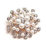 JOYfree Retro Schneeflocke Perle Brosche Korean Strass Corsage Hochzeit Braut Pin Brosche Xmas Decor