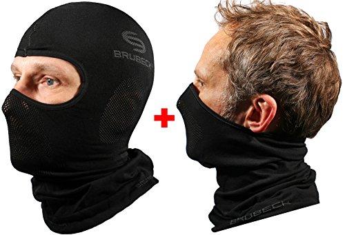 Brubeck set - km00010 passamontagna funzionale + x-pro maschera facciale | funzionale | sci | moto | bici | correre | 'il migliore', größe:s/m, colore:set - schwarz
