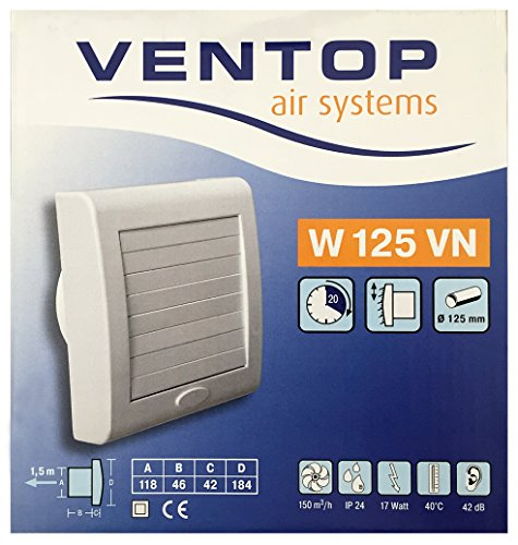 Ventilator für Wand- und Deckenmontage Ø 125 mm VENTOP air systems W125VN elektrischer Verschluss, Nachlauf - Badlüfter Badventilator