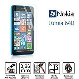 TM-Displayschutzfolie/Schutzglas Displayschutzfolie–Nokia Lumia 640–Hartglas HQ Ultra bruchsicher (strapazierfähig & gestreift)–Ultra Slim (0,26) mit abgerundete Kanten–Schutz und ein Komfort Bedienkomfort–tgc-nk640–0082