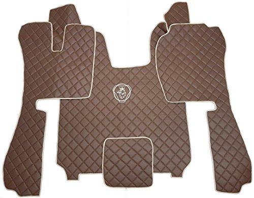 Preisvergleich Produktbild Fußmatten und Motortunnelabdeckung passend für R Serie 2014 + AUTOMATIKGETRIEBE Zubehör Dekoration LKW BRAUN Matten Kunstleder