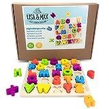 LISA & MAX ABC Puzzle aus Holz - 26 Wunderschön Bunte Massive Buchstaben Holzsteine - Alphabet Holz-Puzzle für Kinder ab 0 Jahren - Holzspielzeug Zum Alphabet Lernen und Trainieren