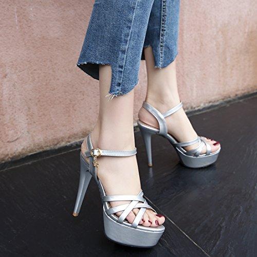 YE Damen Lackleder Riemchen Offene Stiletto Plateau Sandalen mit Schnalle High Heel Pumps Schuhe Silber