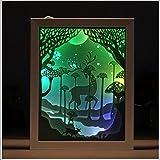 Kreatives 3D Papier Gravur Bild Beleuchtung USB Licht Hochzeit Geschenk Geschenk Dekoration,Brown
